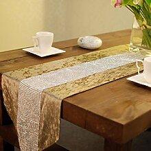 GY&H Europäische klassische Paketbohrer Tisch Läufer Isolierung Anti - Rutsch - Tisch, TV - Schrank Heimtextilien,Coffee,32*250cm