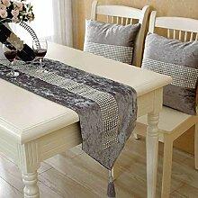GY&H Europäische Mode Couchtisch Läufer Dekoration Tuch Serviette Bett Fahne Hochzeitsfeier Tischläufer,gray,30*220cm