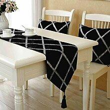 GY&H Europäische Mode Couchtisch Läufer Dekoration Tuch Serviette Bett Fahne Hochzeitsfeier Tischläufer,black,30*200cm