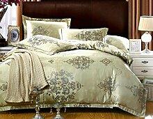 GY&H Europäische Steppdecke + Bett +2 Kissen Set Baumwolle Jacquard-Stickerei vier Sets,E