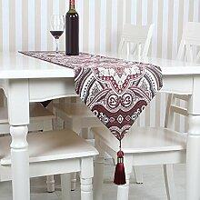 GY&H Europäische Stickerei Tischläufer Esstisch Hause bequeme Mehrzweck-TV-Schrank Bett Läufer Hochzeitsfeier Tischdekoration,red,32*180cm
