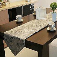GY&H Europäischen Stil Heimtextilien Luxus Silber Tischläufer hochwertigen Druck Tisch Haus Dekoration Hotel Schlafzimmer Leben Dekoration Bettdecke,Silver,32*180cm
