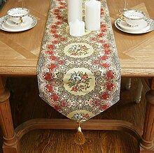 GY&H Europäischen Stil Retro Tischläufer Hotel Luxus Bett Läufer TV-Schrank, Couchtisch Deckel Tuch Tischdekoration Hochzeit, Party, Geschenk,red,32*200cm
