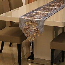 GY&H Europäischen Stil Tischläufer gestickten Dresser Schal für Essen, Hochzeit, Party, Geschenk Multi-Größe,D,32*160cm