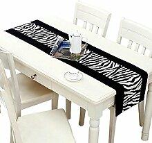 GY&H Europäischer Stil Plüsch Tisch Läufer Tisch, Couchtisch, Bett Zebra Muster Maschine waschbar, Polyester Runner,black,32*220cm