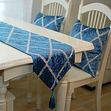 GY&H Europäisches neues hochwertiges Diamantgitter Tischläufer blaue Faser Polyesterfaser Tisch, Bett Dekorationen Läufer,blue,33*180cm