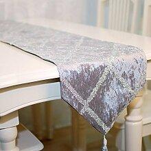 GY&H Europäisches neues hochwertiges Diamantgitter Tischläufer blaue Faser Polyesterfaser Tisch, Bett Dekorationen Läufer,Beige,33*200cm
