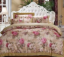 GY&H European style simple cotton satin colored cotton twill jacquard embroidery 40 cotton bed four sets of bedding (Queen, King),D,King