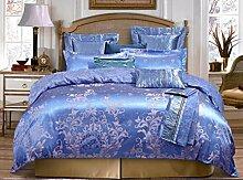 GY&H European Tencel Jacquard-Druck Baumwolle vier Sätze von hochwertigen Heimtextilien Stoff Bettwäsche Quilt Cover × 1PC, Bettwäsche × 1PC, Kissenbezug × 2PCS),B,2 m bed