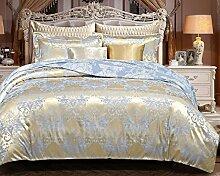 GY&H European Tencel Jacquard-Druck Baumwolle vier Sätze von hochwertigen Heimtextilien Stoff Bettwäsche Quilt Cover × 1PC, Bettwäsche × 1PC, Kissenbezug × 2PCS),K,1.5-1.8 m bed