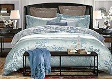 GY&H European Tencel Jacquard-Druck Baumwolle vier Sätze von hochwertigen Heimtextilien Stoff Bettwäsche Quilt Cover × 1PC, Bettwäsche × 1PC, Kissenbezug × 2PCS),D,1.5-1.8 m bed