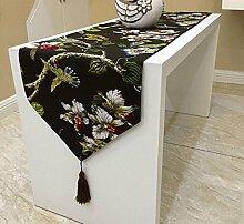 GY&H Flax Classic European Tischläufer Couchtisch Läufer Bett Läufer Schuhabdeckung Tissue, Hochzeit Raum Layout Dekoration,coffee,32*210cm