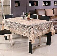 GY&H Frische und lichtdurchlässige Stickerei Tischdecken europäischen Stil Esstisch, Teetisch Tuch Moderne einfache multifunktionale Heimtextilien Tischdecke,Coffee color,100*150cm
