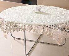 GY&H Frische und lichtdurchlässige Stickerei Tischdecken europäischen Stil Esstisch, Teetisch Tuch Moderne einfache multifunktionale Heimtextilien Tischdecke,Beige,150*220cm