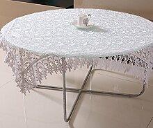 GY&H Frische und lichtdurchlässige Stickerei Tischdecken europäischen Stil Esstisch, Teetisch Tuch Moderne einfache multifunktionale Heimtextilien Tischdecke,white,130*180cm