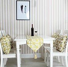 GY&H Geometrische Diamant-Chart Tischläufer moderne minimalistische Stickerei Tischdecke TV-Schrank Couchtisch Läufer,yellow,32*220cm