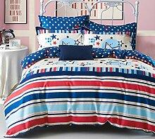 GY&H Heimtextilien Stoffe Luxus Shu vierteiliger Anzug Schleifen weiche Baumwolle vierteilige Kaschmir / Hochzeit Bettwäsche (1pc Bettdecke, 1pc Flachbett und 2pc Kissen Fall),F,2 m bed
