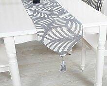 GY&H Imitation Blatt Tischläufer europäischen Stil Esstisch TV Schrank Couchtisch Tuch Mehrzweck Mode Bett Läufer,gray,32*160cm