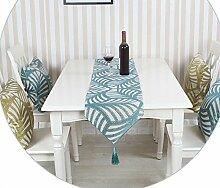 GY&H Imitation Blatt Tischläufer europäischen Stil Esstisch TV Schrank Couchtisch Tuch Mehrzweck Mode Bett Läufer,blue,32*200cm