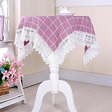 GY&H Mehrzweck Handtuch Couchtisch Tuch Nachttisch Schrank Staub Abdeckung Spitze Home Dekoration Tisch Tischdecke,purple,105*155cm