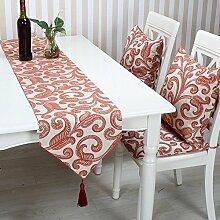 GY&H Mode Tischläufer Hause Tisch Couchtisch Läufer Baumwolle Europäische Thanksgiving, Weihnachten, Party Tischläufer,red,32*180cm
