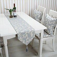GY&H Mode Tischläufer Hause Tisch Couchtisch Läufer Baumwolle Europäische Thanksgiving, Weihnachten, Party Tischläufer,gray,32*200cm