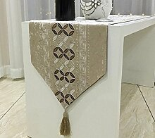 GY&H Moderne chinesische klassische einfache Gold und Silber Seide gestickte Tischläufer Esstisch Couchtisch Matratze Bedside Bett Läufer,yellow,32*210cm
