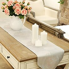 GY&H Moderne Jacquard Handwerk Tischläufer Couchtisch Esstisch TV Schrank Abdeckung Tuch weiß Druck Hotel, Schlafzimmer Bett Flagge,white,33*200cm