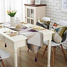 GY&H Moderne Jacquard Handwerk Tischläufer Western Esstisch Tuch Isolierauflage Kaffee Tisch Läufer Bett Flaggen Multi Größe,purple,32*160cm