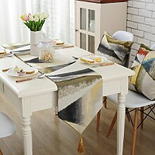 GY&H Moderne Jacquard Handwerk Tischläufer Western Esstisch Tuch Isolierauflage Kaffee Tisch Läufer Bett Flaggen Multi Größe,Gold,32*200cm