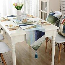 GY&H Moderne Jacquard Handwerk Tischläufer Western Esstisch Tuch Isolierauflage Kaffee Tisch Läufer Bett Flaggen Multi Größe,blue,32*220cm