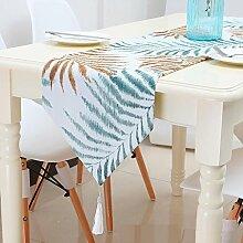 GY&H Natur Blatt Druck Tisch Läufer Hochzeitsfeier, Thanksgiving Day, Weihnachten, Engagement Runner Dekorationen,blue,180*32cm