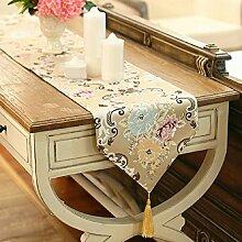 GY&H Neue einfache europäische Drucktisch Läufer Gold Jacquard Handwerk High-End-Tisch Tuch Mehrzweck Hochzeit Partei Tischdekoration,Pink,33*180cm
