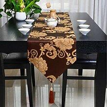 GY&H Neue europäische Druck-Tischläufer Brokat Jacquard-Tisch, TV-Schrank, Couchtisch Tischfahne Vielzahl von Farbe Home Dekorationen,D,32*200cm