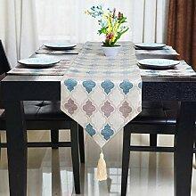 GY&H Neue europäische klassische Gittertisch Läufer Bett Läufer Couchtisch, TV-Cover Tuch Läufer blau, beige,blue,33*200cm