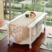 GY&H Neue europäische klassische Stickerei-Luxux tabelle-Läufer-Kaffeetisch Fernsehapparat-Kabinett-doppelte Schicht-dekoratives Abdeckungs-Tuch,Gold,16in*78in