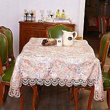 GY&H Neue Heimtextilien Spitzen Pastoral Tischdecken Couchtisch Tuch Multifunktions Party Camping Picknick Tischdecken,Orange,85*85CM