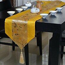 GY&H Neue klassische Satin Tischläufer Couchtisch TV-Schrank weichen Anzug Zubehör Multi-Stil Druck Abendessen Hochzeit Tischdekoration Läufer,C,32*200cm