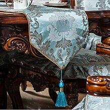 GY&H Neue Stickerei Tischläufer High-End Luxus Tischdecke Couchtisch Läufer Bett Runner Anti-Rutsch Staub Tischmatten mehrere hängende Perlen,C,35*210cm