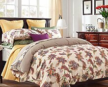 GY&H Neuer mattes Baumwollköper aktives Färben und Drucken quilting kühles breathable bequemes weiches Bett vier Sätze (Steppdecke Cover × 1PC, Bett-Blatt × 1PC, Kissenbezug × 2PCS),b5,2.0m(6.6ft) bed