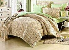 GY&H Pure Baumwolle aktive Druck-und Färben Luxus hochwertigen Heimtextilien Stoff vierteilige volle Köper Verpackung Faser Mode Bettwäsche (Quilt Deckung × 1PC, Bett Blatt × 1PC, Kissenbezug × 2PCS),B7,2 meters bed