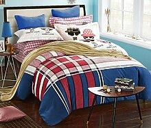 GY&H Pure Baumwolle reaktives Drucken und Färben Wolle Heimtextilien vier Sätze von Baumwollspitze Bettwäsche (Quilt cover × 1PC, Bed Sheet × 1PC, Kissenbezug × 2PCS),B5,1.5-1.8 m bed
