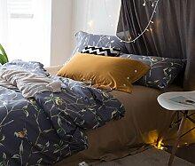 GY&H Pure Baumwollsamt-Köper-Quiltenkunstblumen kühlen breathable bequemes weiches Bett vier Sätze (Steppdecke Cover × 1PC, Bett-Blatt × 1PC, Kissenbezug × 2PCS),a7,1.8m(6ft) bed
