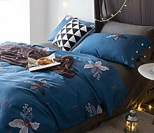 GY&H Pure Baumwollsamt-Köper-Quiltenkunstblumen kühlen breathable bequemes weiches Bett vier Sätze (Steppdecke Cover × 1PC, Bett-Blatt × 1PC, Kissenbezug × 2PCS),a2,1.8m(6ft) bed