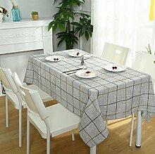 GY&H Rechteckige Baumwolle und Leinen Tischdecke Hause quadratischen Stoff TV-Schrank Couchtisch Tuch Mehrzweck-Party Camping Picknick Tischdecke,Light gray,130*200cm