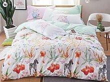GY&H Reine Baumwollaktive Druckhauptgewebegewebe vierteilige Art und Weisehaus bequeme Bettwäsche (Steppdeckeabdeckung × 1PC, Bett-Blatt × 1PC, Kissenbezug × 2PCS),D5,1.5-1.8 m bed