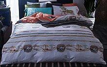 GY&H Reine Baumwollaktive Druckhauptgewebegewebe vierteilige Art und Weisehaus bequeme Bettwäsche (Steppdeckeabdeckung × 1PC, Bett-Blatt × 1PC, Kissenbezug × 2PCS),B4,2 meters bed