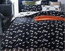 GY&H Reine Baumwollaktive Druckhauptgewebegewebe vierteilige Art und Weisehaus bequeme Bettwäsche (Steppdeckeabdeckung × 1PC, Bett-Blatt × 1PC, Kissenbezug × 2PCS),A5,2 meters bed