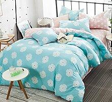GY&H Reine Baumwollreaktive Köper-Textilgewebe vier Sätze bequeme Hauptbettwäsche (Steppdeckeabdeckung × 1PC, Bett-Blatt × 1PC, Kissenbezug × 2PCS),B7,2 meters bed