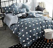 GY&H Reine Baumwollreaktive Köper-Textilgewebe vier Sätze bequeme Hauptbettwäsche (Steppdeckeabdeckung × 1PC, Bett-Blatt × 1PC, Kissenbezug × 2PCS),A3,2 meters bed